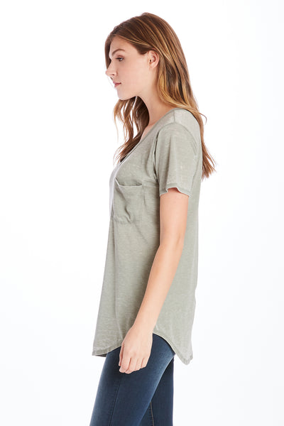 PHOENIX BURNOUT POCKET VNECK TEE SOFT JADE