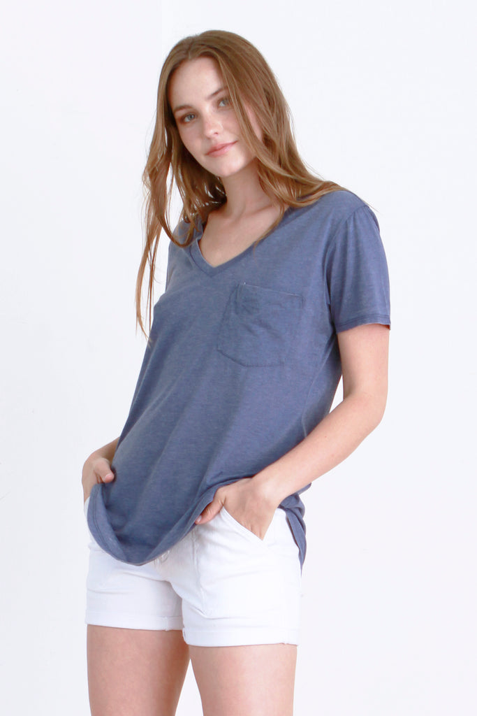 PHOENIX VINTAGE WASHED V-NECK DARK DENIM