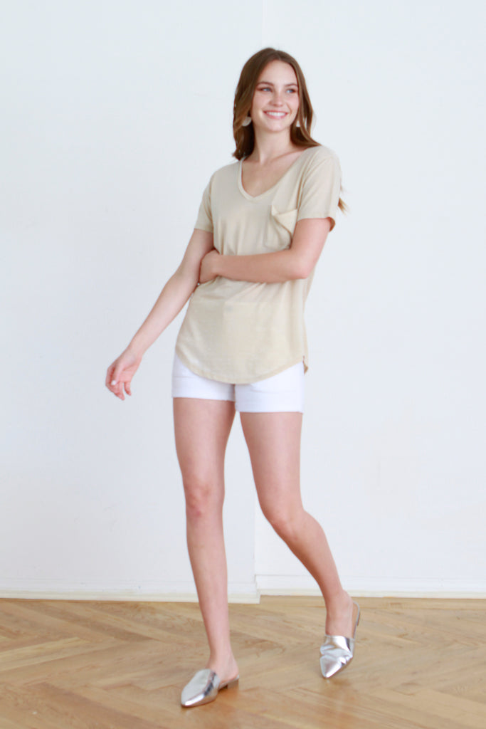 PHOENIX VINTAGE WASHED V-NECK KHAKI