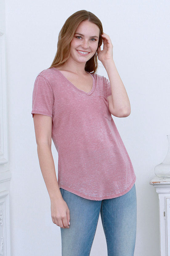 PHOENIX VINTAGE WASHED V-NECK MERLOT