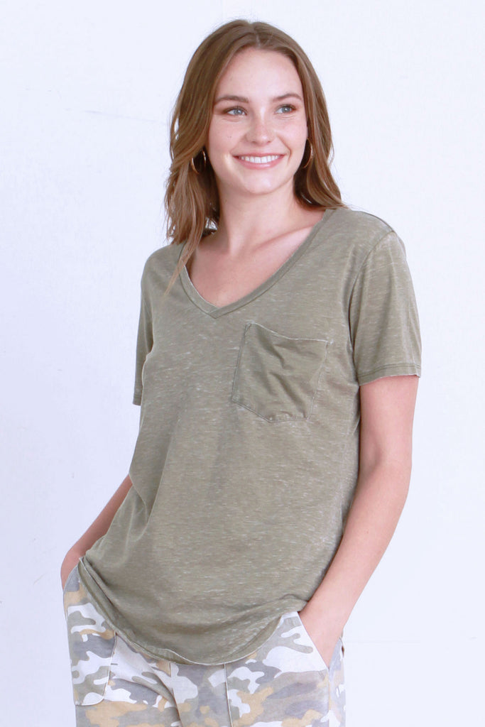 PHOENIX VINTAGE WASHED V-NECK TEA LEAF