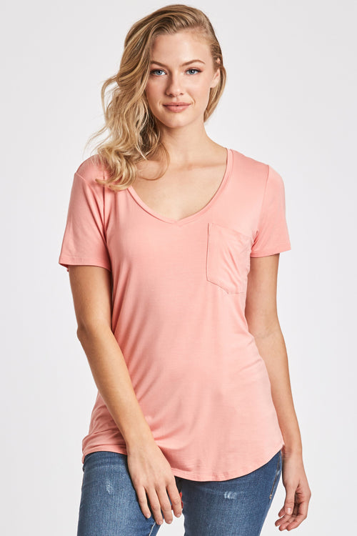PHOENIX POCKET VNECK TEE BLUSH
