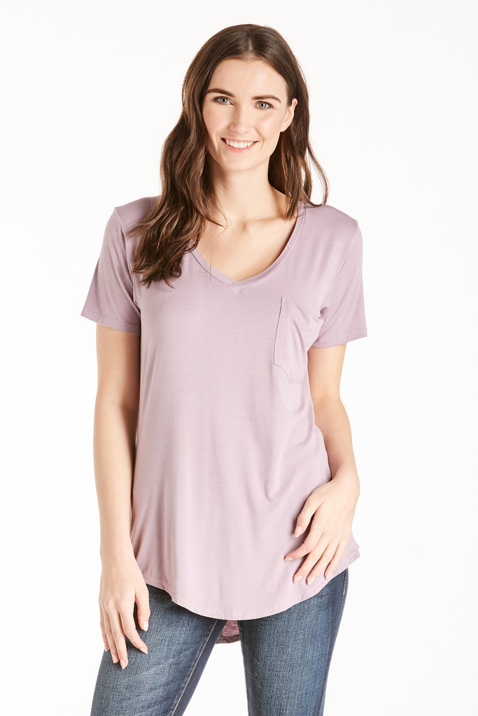 PHOENIX POCKET VNECK TEE DUSTY LILAC
