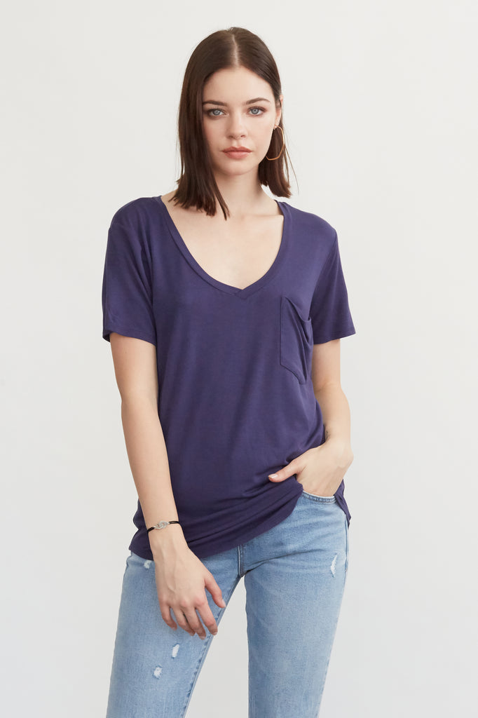 PHOENIX POCKET VNECK TEE NAVY