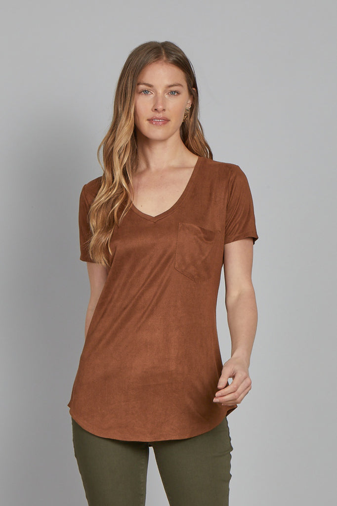 PHOENIX SUEDE V-NECK TOP CHOCOLATE