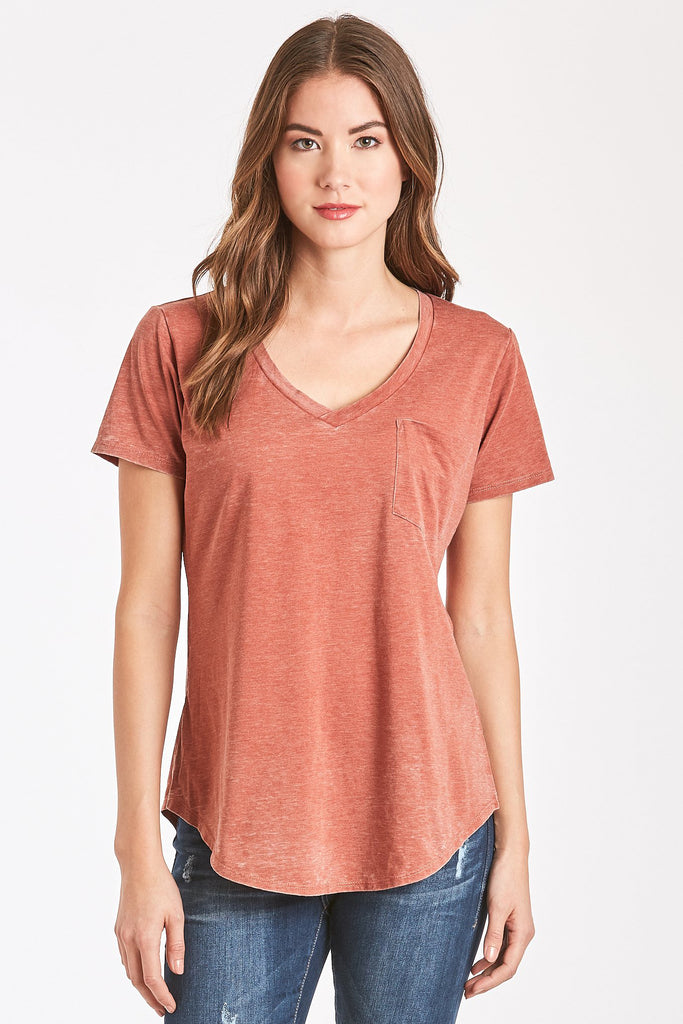 PHOENIX BURNOUT POCKET VNECK TEE SPICE