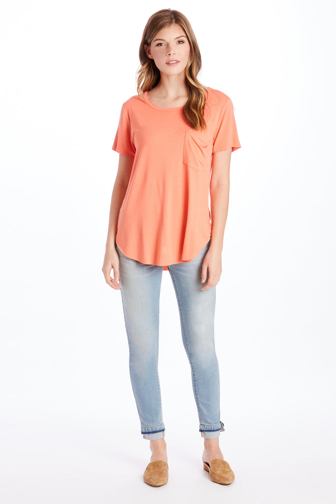 SAM CREW NECK SS TEE SHIRT CORAL