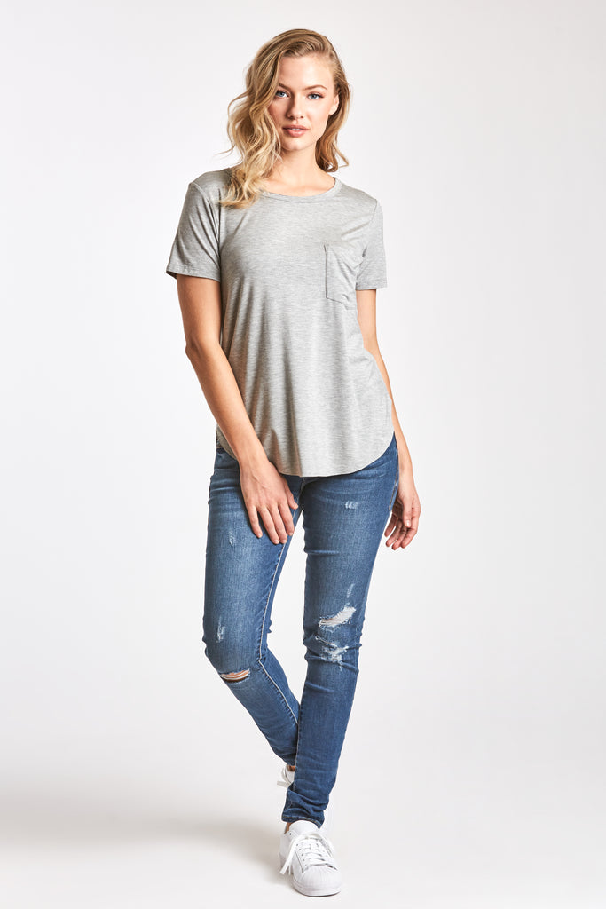 SAM CREW NECK TEE HEATHER GREY
