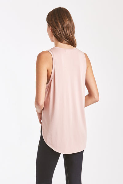 ESTHER VNECK TANK W/ PKT BLUSH