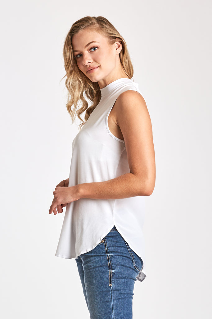 BETTY MOCK NECK TANK WHITE