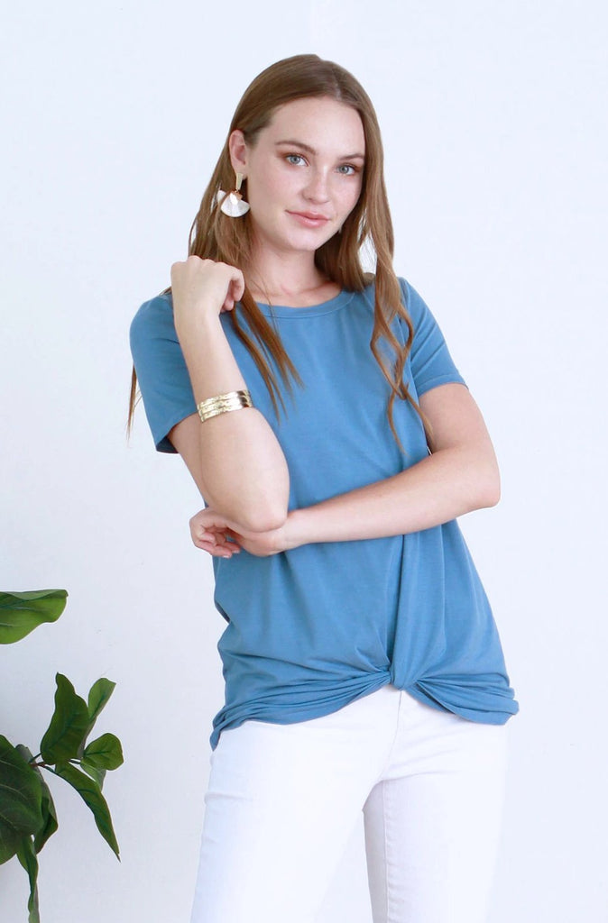 JULIA FRONT KNOT TEE FRENCH BLUE