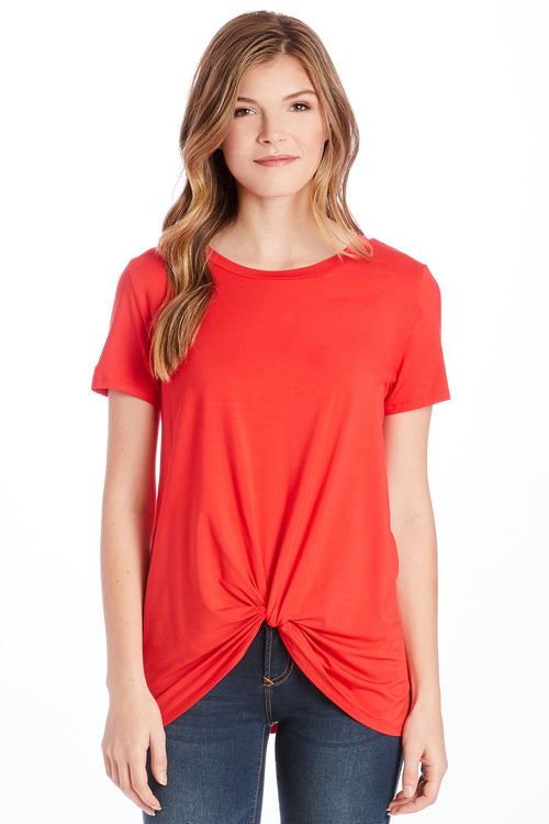 JULIA FRONT KNOT TEE RED