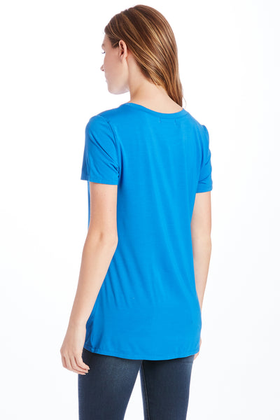 JULIA FRONT KNOT TEE ROYAL
