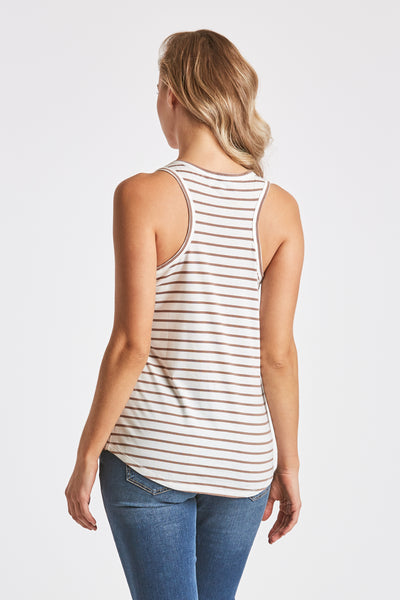 GRACE STRIPE TANK WHITE/STONE