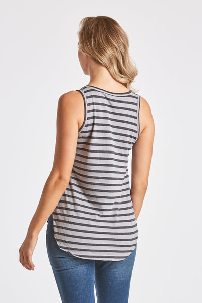 REBECCA STRIPE POCKET TANK GREY/CHARCOAL