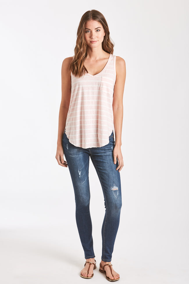 REBECCA STRIPE POCKET TANK BLUSH/WHITE