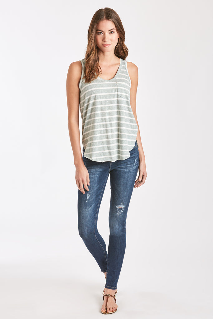 REBECCA STRIPE POCKET TANK FERN/WHITE