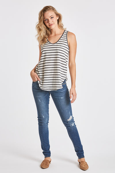 REBECCA STRIPE POCKET TANK WHITE/CHARCOAL