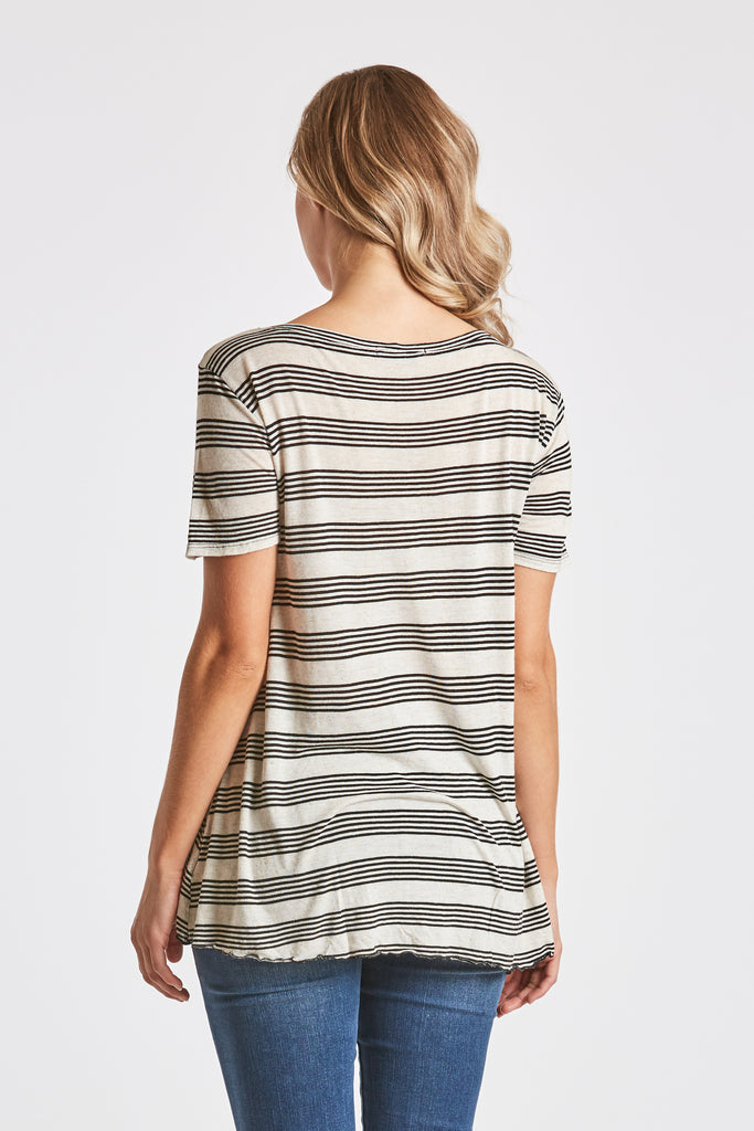 STEPHANIE STRIPE KNIT OATMEAL/BLACK