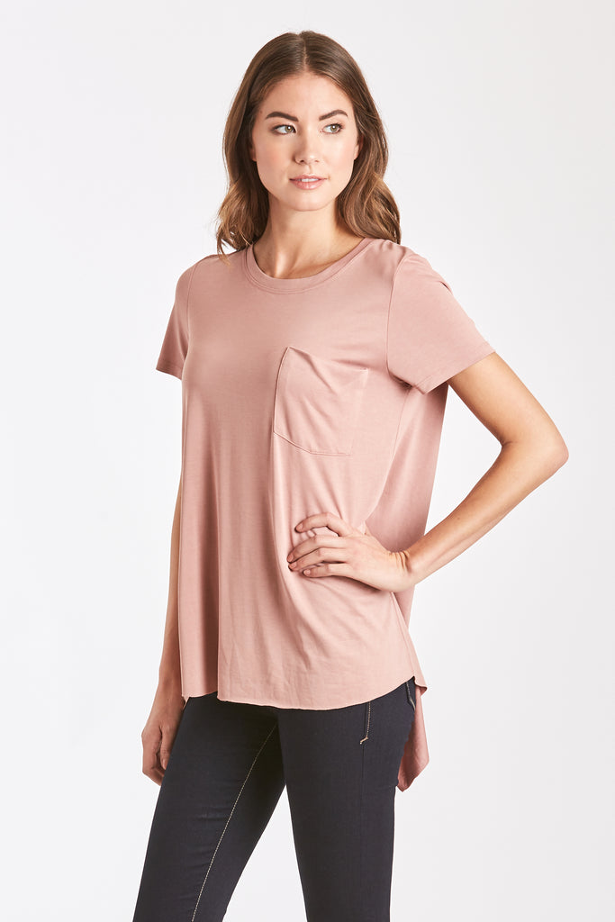 PARIS SPLIT BACK TEE DUSTY ROSE