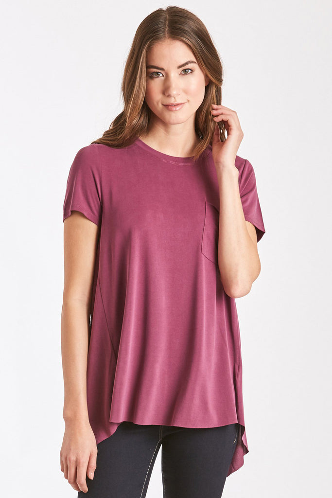 PARIS SPLIT BACK TEE MAGENTA