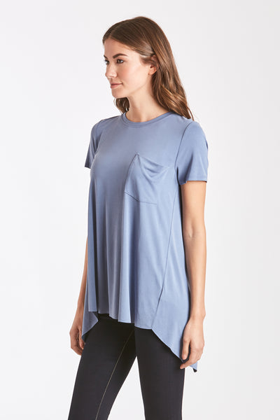 PARIS SPLIT BACK TEE SLATE