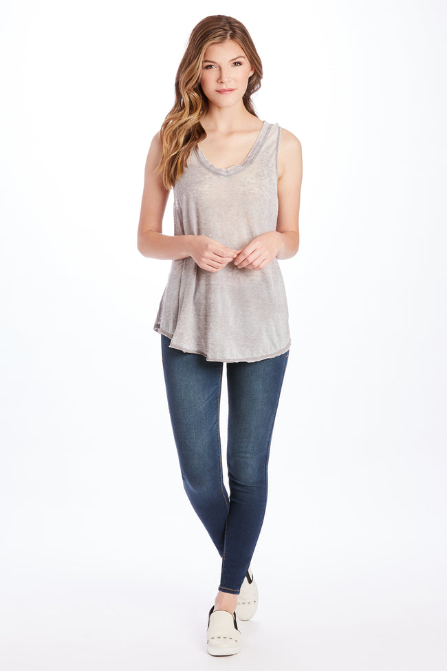 ALLISON BURNOUT V-NECK HEATHER GREY