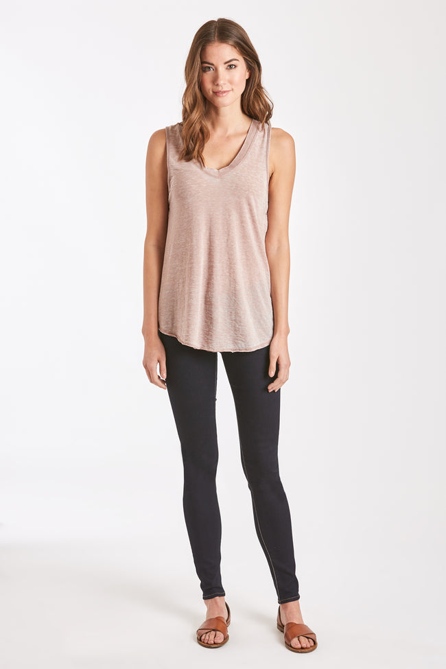 ALLISON BURNOUT V-NECK LIGHT MOCHA