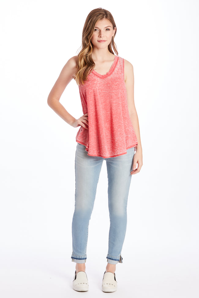 ALLISON BURNOUT V-NECK RED