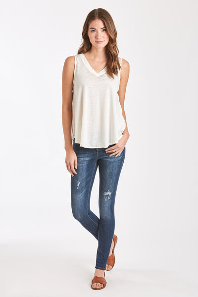 ALLISON BURNOUT V-NECK WHITE
