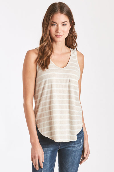 REBECCA STRIPE POCKET TANK STONE/WHITE