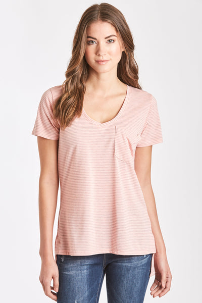 EILEEN STRIPE POCKET TEE BLUSH