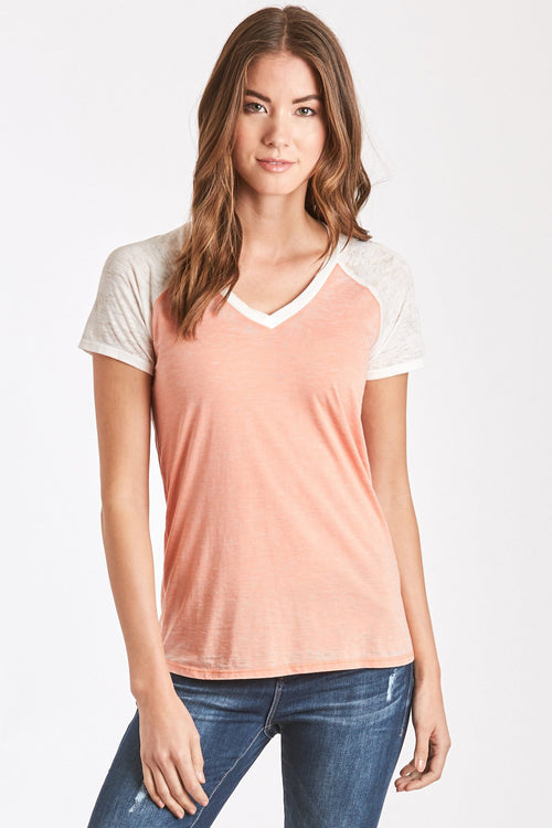 BRYNLEE BURNOUT BASEBALL TEE APRICOT/WHITE