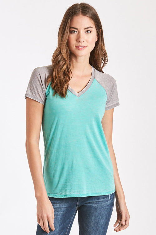 BRYNLEE BURNOUT BASEBALL TEE MINT/GREY