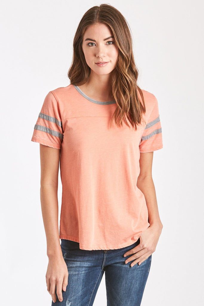 ANALISA BURNOUT ATHLETIC TEE APRICOT/GREY