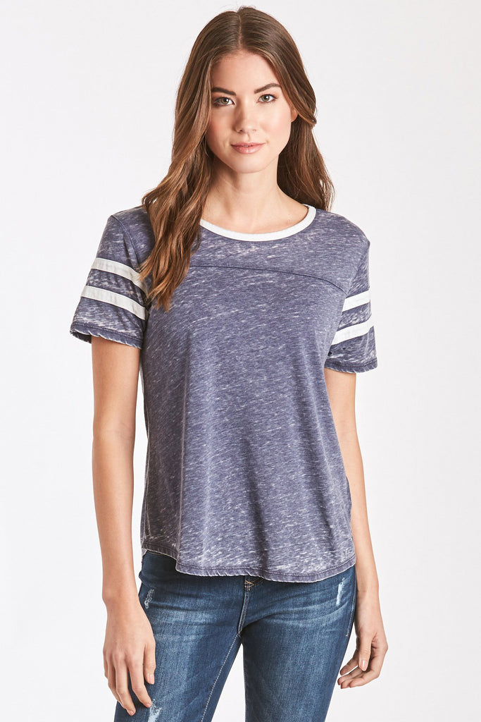 ANALISA BURNOUT ATHLETIC TEE NAVY/WHITE