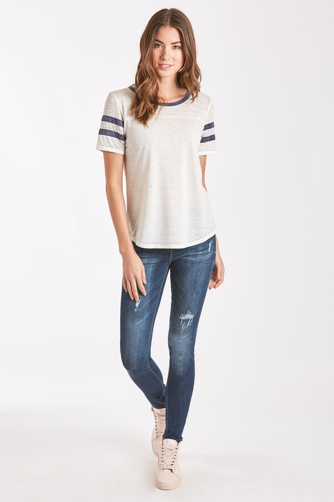 ANALISA BURNOUT ATHLETIC TEE WHITE/NAVY