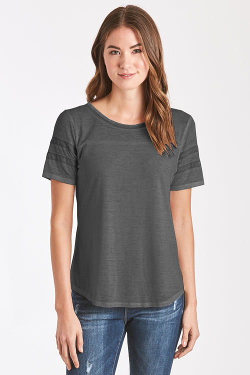 ANALISA BURNOUT ATHLETIC TEE CHARCOAL