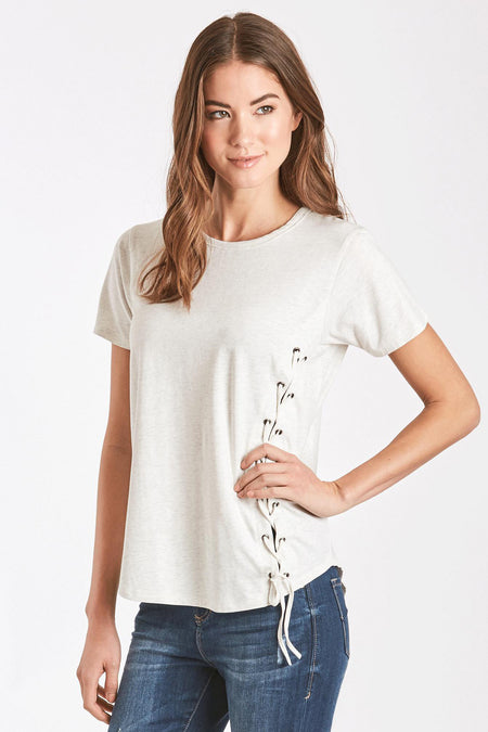 e2c75a5af203c MADI LACE UP FRONT TEE SLATE – Another Love Clothing