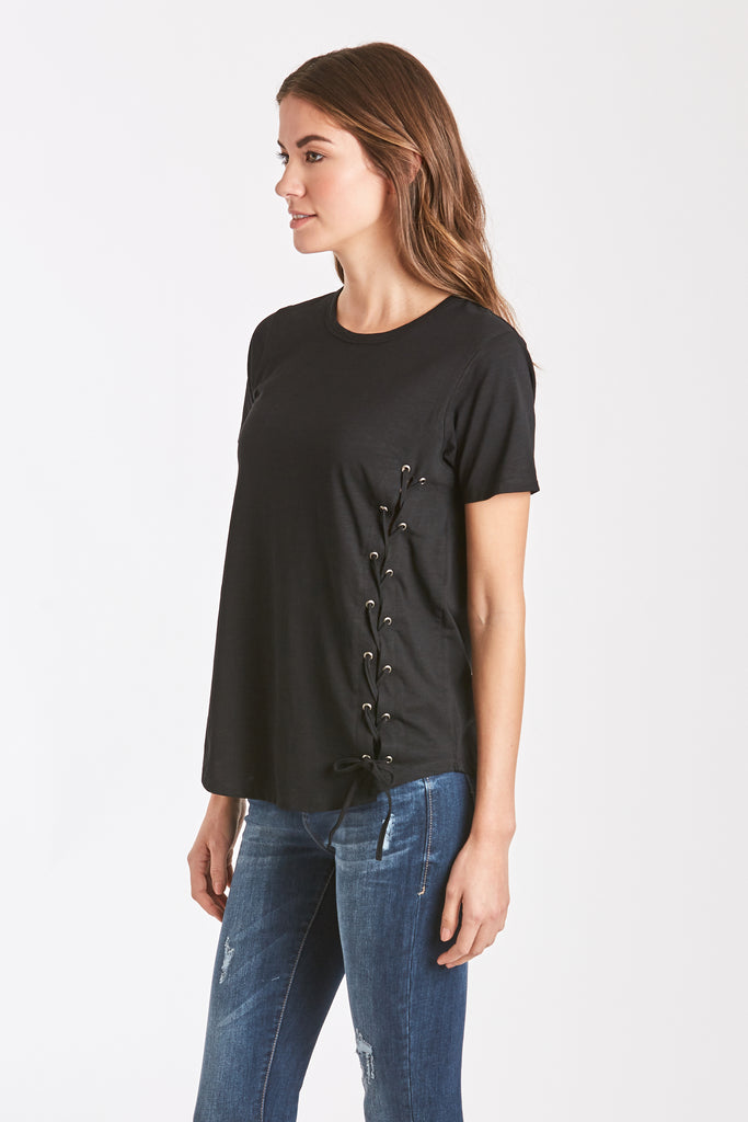 CELLI SIDE LACE TEE BLACK