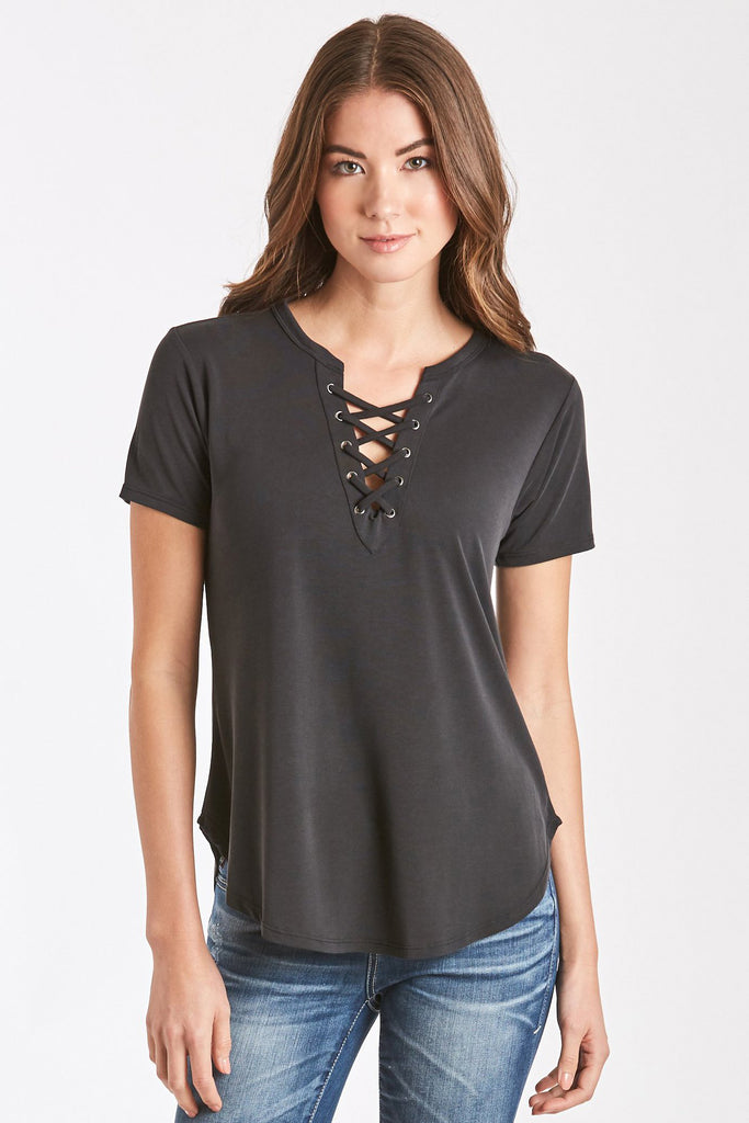MADI LACE UP FRONT TEE BLACK