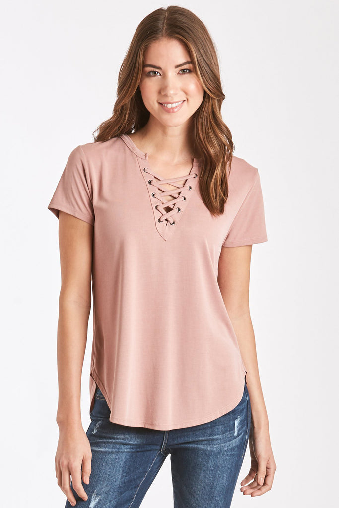 MADI LACE UP FRONT TEE DUSTY ROSE