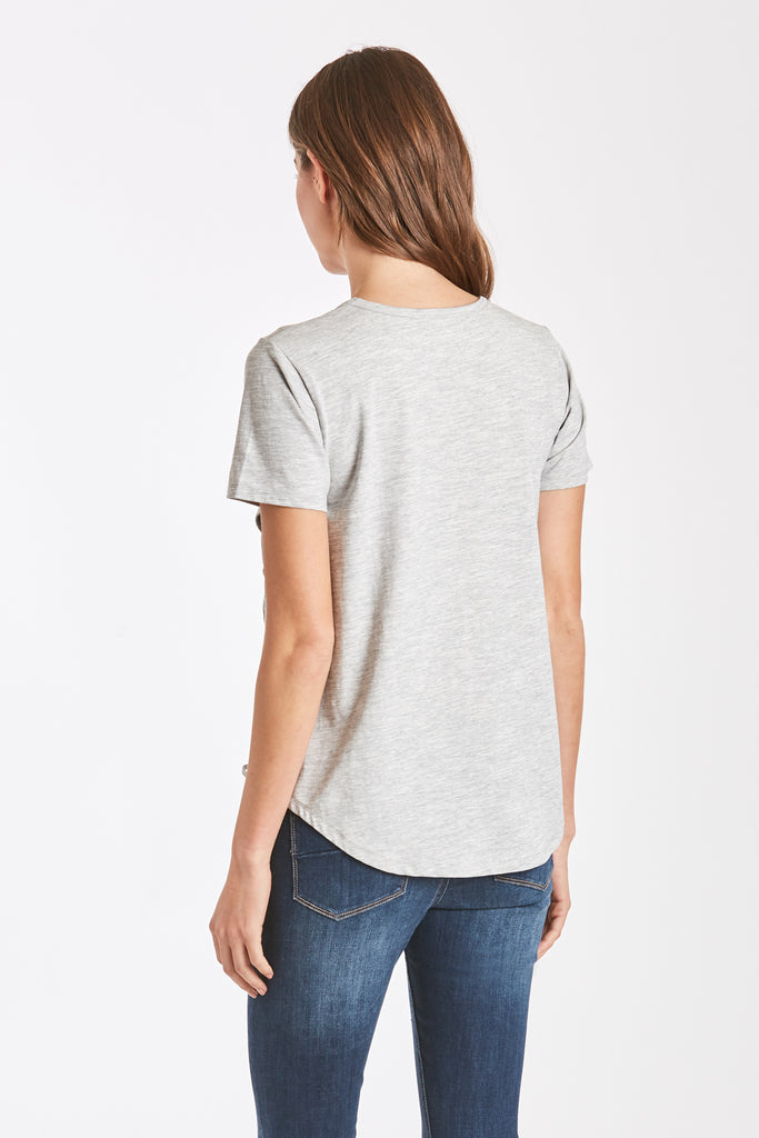 CELLI SIDE LACE TEE HEATHER GREY