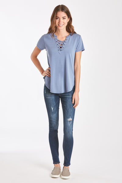 MADI LACE UP FRONT TEE SLATE