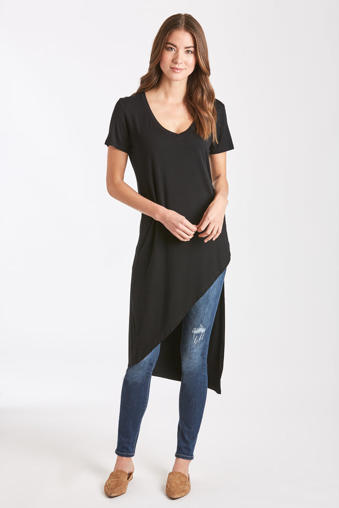 BELLE ASYMMETRICAL TUNIC BLACK