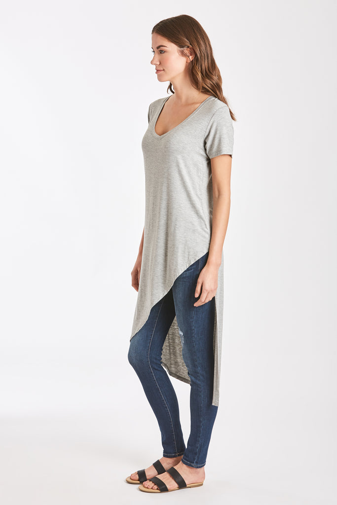 BELLE ASYMMETRICAL TUNIC HEATHER GREY