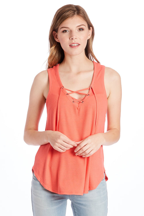 MILA LACE UP TANK CORAL