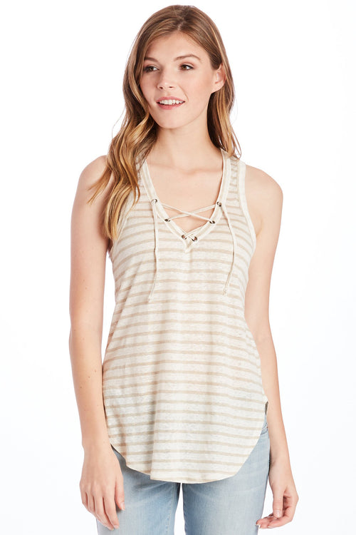 MILA STRIPE LACE UP TANK WHITE/HAZELNUT