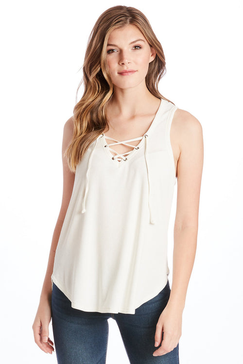 MILA LACE UP TANK WHITE