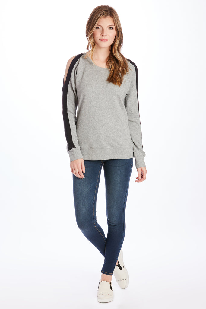 HELEN COLD SHOULDER HEATHER GREY